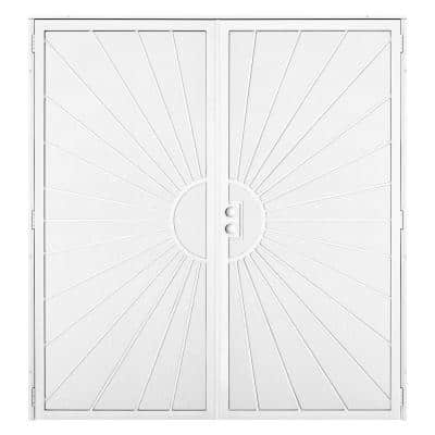 72 in. x 80 in. Solana White Surface Mount Outswing Steel Double Security Door with Perforated Metal Screen