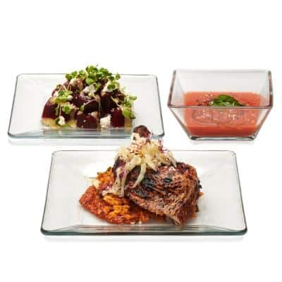 Tempo 12-Piece Modern Clear Glass Dinnerware Set (Service for 4)
