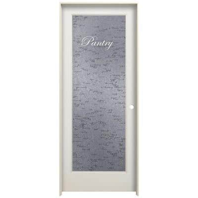 24 in. x 80 in. Left Hand Recipe Pantry Frosted Glass Primed Wood Single Prehung Interior Door