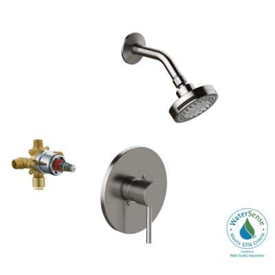 Eastport II Single-Handle 1-Spray Round Shower Faucet Trim Kit in Satin Nickel (Valve Included)