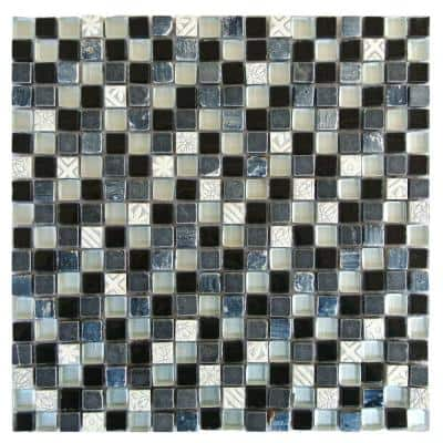 Quartz Scacchi Black & Blue Square Mosaic 12 in. x 12 in. Glass & Stone Wall & Floor Tile (1 Sq. ft.)