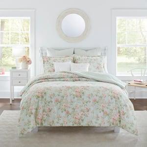 Madelynn 7-Piece Blue Floral Cotton Full/Queen Comforter Set