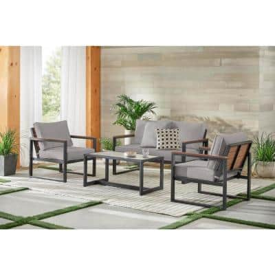 West Park 4-Piece Black Aluminum Outdoor Patio Conversation Set with CushionGuard Stone Gray Cushions