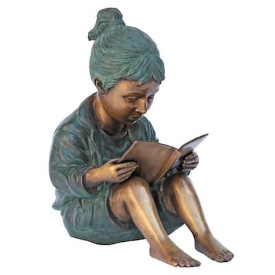 12.5 in. H Story Book Girl Bronze Garden Statue