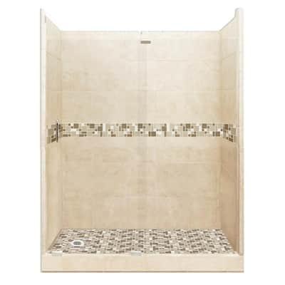 Tuscany Grand Slider 36 in. x 60 in. x 80 in. Left Drain Alcove Shower Kit in Desert Sand and Satin Nickel Hardware