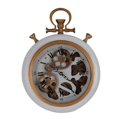 Roman Numeral Wall Clock - White, Gold