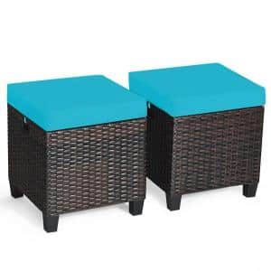 2-Piece Wicker Outdoor Patio Ottoman with Turquoise Cushions