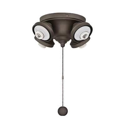 4-Light Matte Greige Ceiling Fan Fitter LED Light Kit