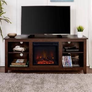 58 in. Traditional Rustic Farmhouse Electric Fireplace TV Stand - Brown