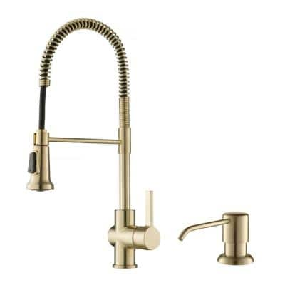 Britt Single Handle Kitchen Faucet with Deck Plate and Soap Dispenser in Spot Free Antique Champagne Bronze Finish