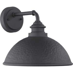 Englewood Collection 1-Light Textured Black  Farmhouse Outdoor Medium Wall Lantern Light