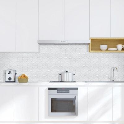 Tapiz 6 in. x 6 in. Grey and White Ceramic Decorative Wall Tile (4-Pack)