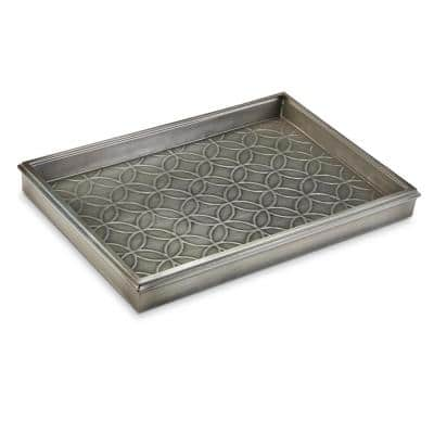 Double Circles 4205DZ with Dark Zinc Gray Finish 14 in. W x 20 in. L Boot Tray for Boots, Shoes, Plants, and More