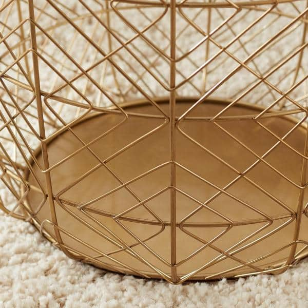 Home Decorators Collection Round Gold, Large Round Wire Basket