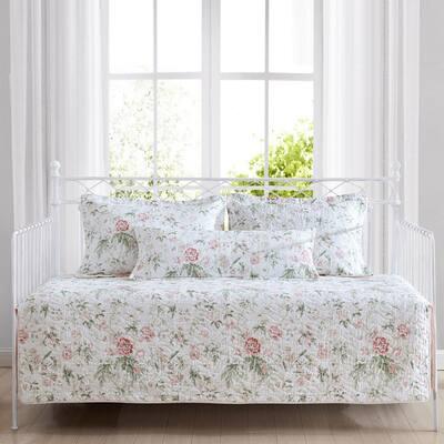 Breezy Floral 4-Piece Pink Cotton Bonus Daybed Set