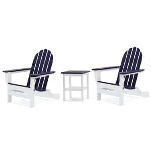 Icon White and Navy Recycled Plastic Folding Adirondack Chair with Side Table (2-Pack)