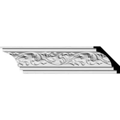 2-3/4 in. x 2-3/4 in. x 94-1/2 in. Polyurethane Tristan Crown Moulding