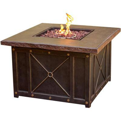 40 in. x 23.62 in. Square Gas Fire Pit with Durastone Top