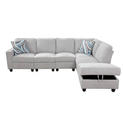 6-Piece Light Gray Microfiber 4-Seat L Shaped Right Facing Sectionals with USB-A