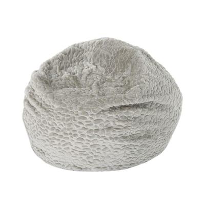 3 ft. Gray Pebble-Patterned Faux Fur Bean Bag