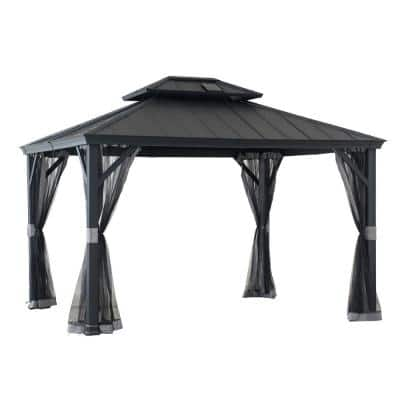 SummerCove Merston 10 ft. x 12 ft. Gray Gazebo with 2-Tier Hardtop Roof
