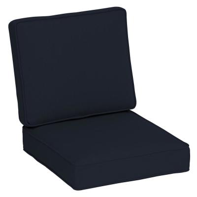 Oasis 24 in. x 20 in. Firm 2-Piece Deep Seating Outdoor Lounge Chair Cushion - Classic Navy Blue