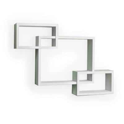 26.5 in. x 19 in. White Laminated Intersecting Squares Floating Shelf