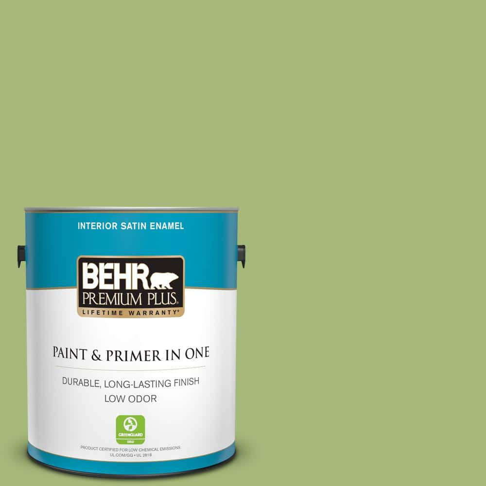 Behr Premium Plus 1 Gal P370 5 Lazy Caterpillar Satin Enamel Low Odor Interior Paint And Primer In One 740001 The Home Depot