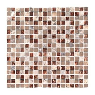 Italian Fossil Foil Brown 11.75 in. x 11.75 in. Square Glass and Marble Mosaic Tile (0.958 sq. ft/Each)