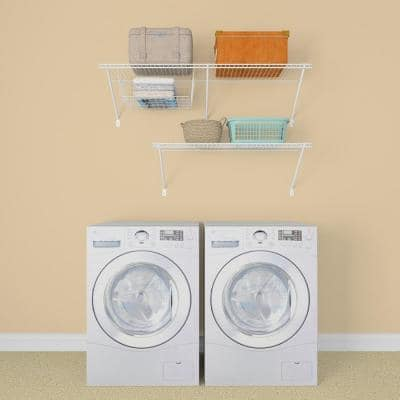 Superslide 12 in. D x 48 in. W x 36 in. H White Wire Fixed Mount Laundry Shelf Kit With Basket