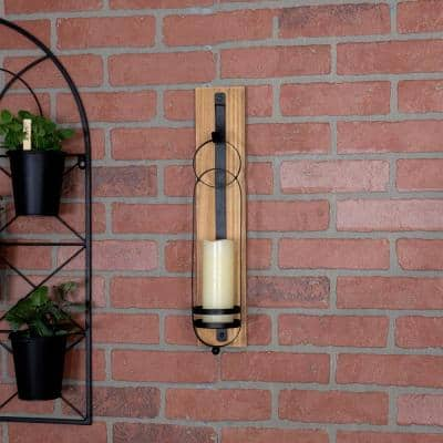 Farmhouse Tall Black Metal and Natural Wood Wall Sconce Candle Holder