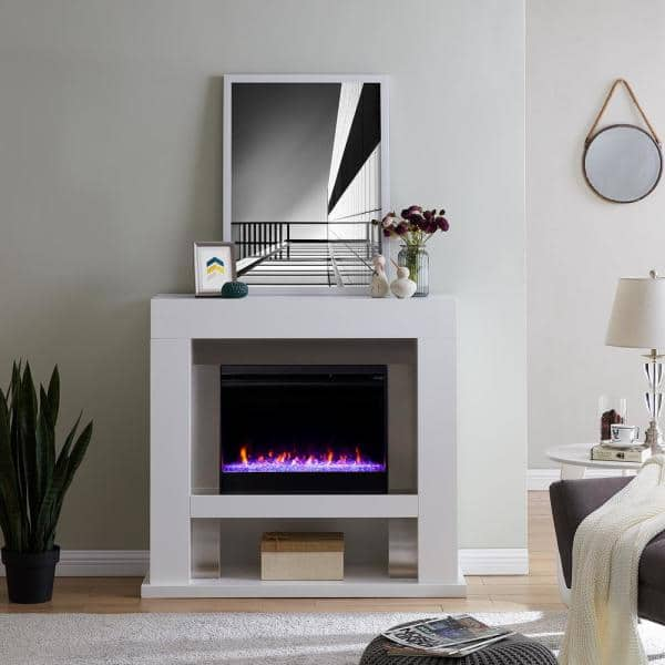 Southern Enterprises Allianne Color, Stainless Steel Fireplace Mantel