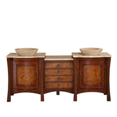 72 in. W x 22 in. D Vanity in Red Chestnut with Stone Vanity Top in Travertine with Vessel Stone Basin