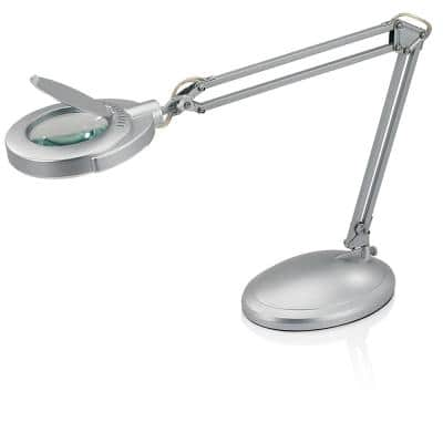 22 in. Silver Indoor Task Lamp with Magnifier and Clamp