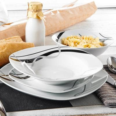 Fiona 24-Piece Casual Ivory White with Black Stripes Porcelain Dinnerware Set (Service for 6)