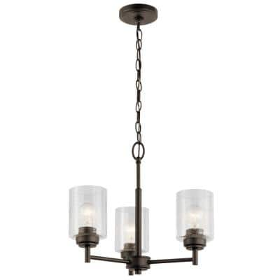 Winslow 3-Light Olde Bronze Mini Chandelier with Clear Seeded Glass Shade