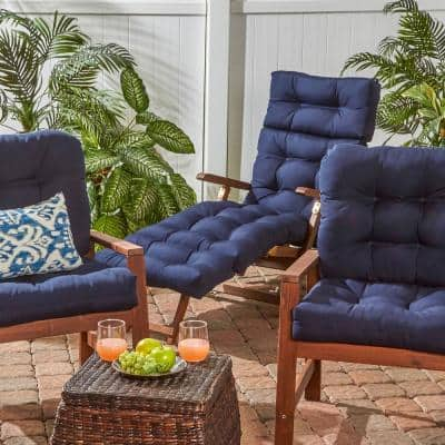 Solid Navy Outdoor Chaise Lounge Cushion