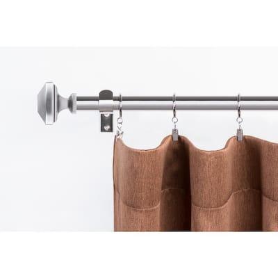 Elegant 72 in. - 144 in. Single Curtain Rod in Brushed Nickel