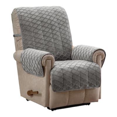Fairmont Grey 1-Piece Diamond Plush Recliner Furniture Cover