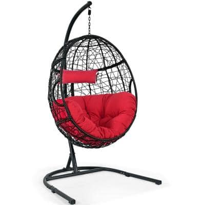 3.5 ft. Free Standing Hammock Chair with Stand with Cushion Red