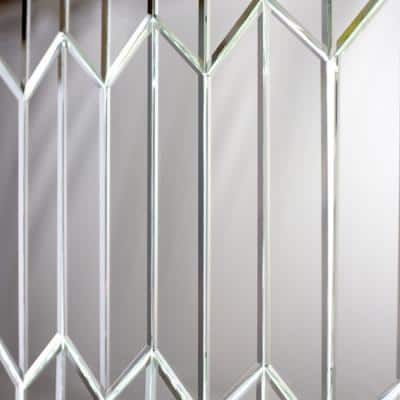 """Reflections Silver Beveled Chevron 4"""" x 12"""" Glass Mirror Wall Tile (16 Sq. Ft. /Case)"""
