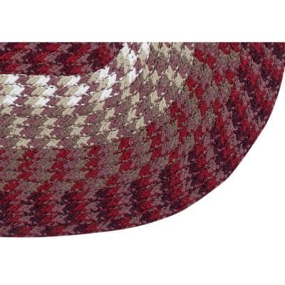 Alpine Collection Burgundy Stripe 50in. x 80in. 7-Piece Reversible Rug Set