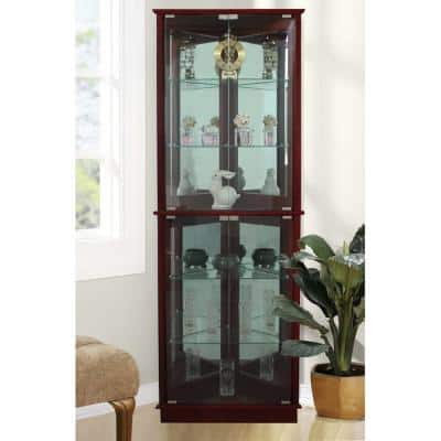 Floor Standing Cherry 3-Sided Lighted Corner Curio Cabinet