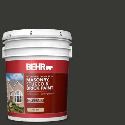 5 gal. #T13-3 Black Lacquer Satin Interior/Exterior Masonry, Stucco and Brick Paint