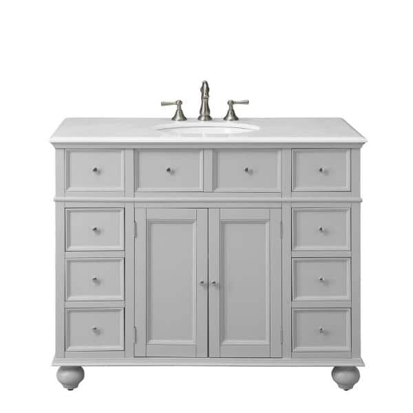 Home Decorators Collection Hampton Harbor 44 In W X 22 In D Bath Vanity In Dove Grey With Natural Marble Vanity Top In White Bf 21375 Dg The Home Depot