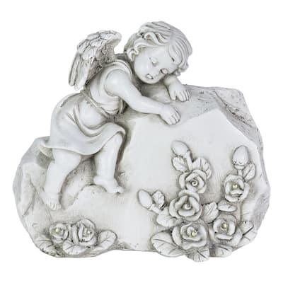 Solar Memorial Angel Blessing Rock Garden Statue