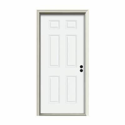 34 in. x 80 in. 6-Panel White Painted Steel Prehung Left-Hand Inswing Front Door w/Brickmould