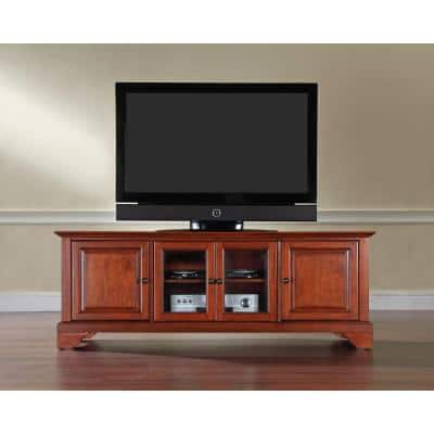 LaFayette 60 in. Cherry Wood TV Stand Fits TVs Up to 60 in. with Storage Doors