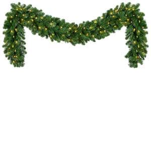 9 ft. Pre-Lit LED Artificial Oregon Fir Commercial Christmas Garland with 100 Lights
