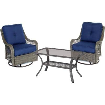 Merritt 3-Piece Metal Outdoor Conversation Chat Set with Navy Blue Cushions